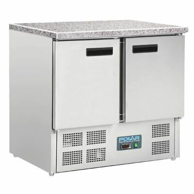 Polar Commercial Fridge Double Door Refrigerated Counter - Marble Work Top 240 L