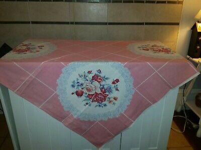 Vintage Tablecloth Pink With Red/ Pink Roses Cutter 46 X 48