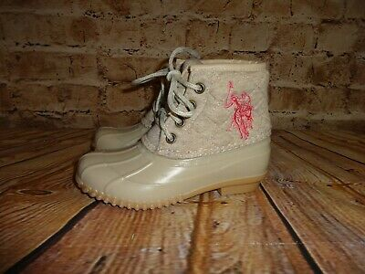 Ralph Lauren Girls Youth Beige Pink Logo Quilted Tops Rain Boots Size 12