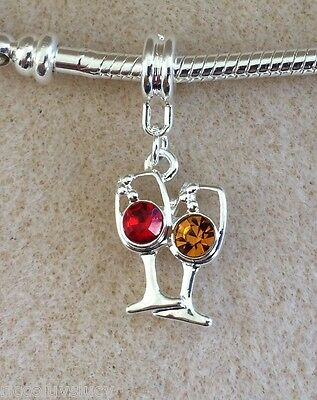 Wine Glass Silver Plated Orange & Red Crystals Fits European Charm Bracelet