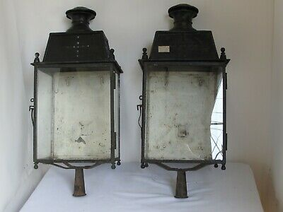 Antique Pair of Outdoor French Copper and Iron Wall or Post Lanterns  1880's