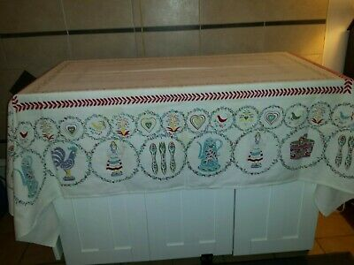 Vintage Tablecloth Flowers Birds Teapots Rooster Cutter
