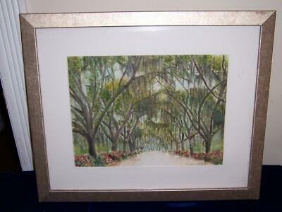 Signed Meredith Forest Trees Landscape Hedge Of Flowers Watercolor Painting