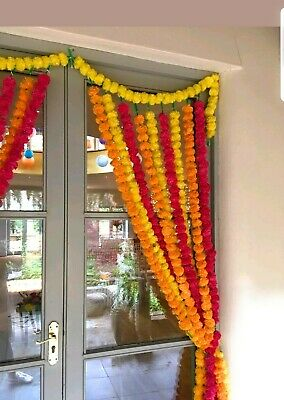 Artificial Marigold garlands5 feet approx mixed Home Wedding Decor Pack Of 10