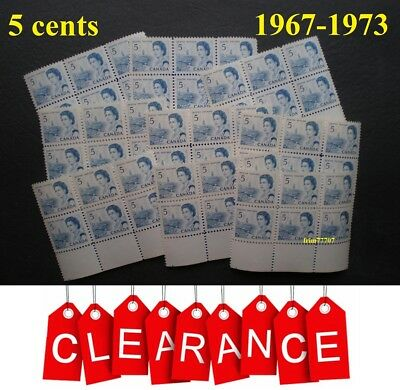 👑 Lot of 100 x 5¢ Mint with FULL Gum Queen Elizabeth II 1967-1973 - Scott # 458