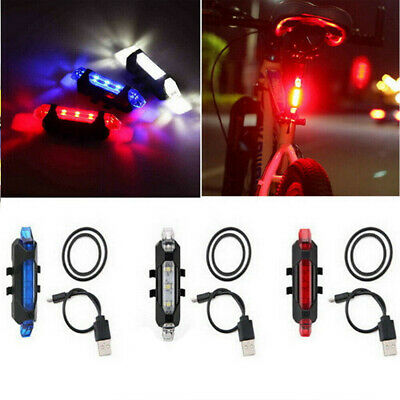 LED USB Rechargeable Bike Tail Warning Rear Lamp Light Bicycle Safety Cycling