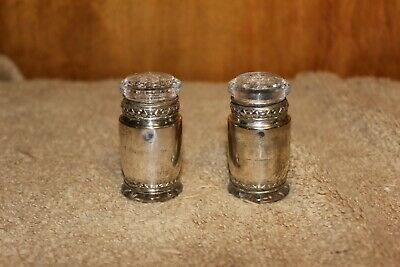 Antique Vintage Silver & Glass patent Dated Salt & Pepper Shakers - 1913