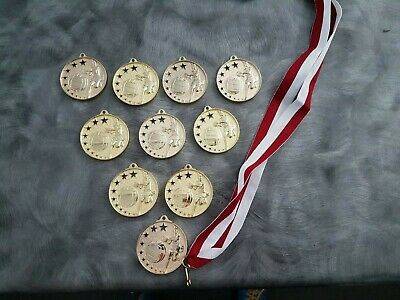 10 x New Netball Medals with Ribbons.  Over $100 value