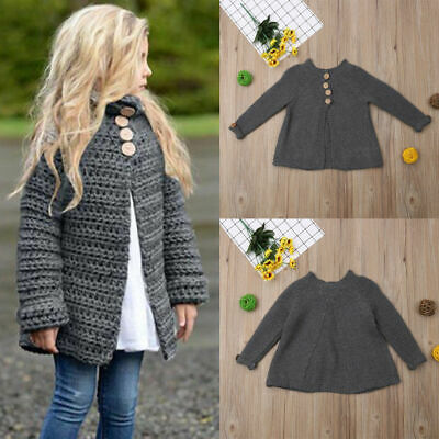 AU Toddler Kid Girls Clothes Long Sleeve Button Knitted Sweater Cardigan Outwear