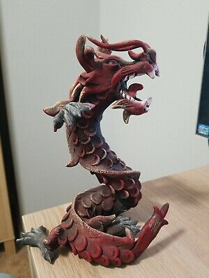 """RED Chinese Feng Shui Dragon Figurine Statue for Luck & Success 8"""" Tall"""
