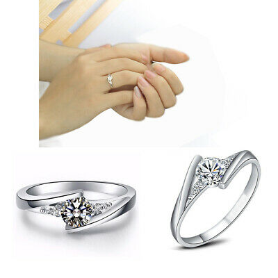 Classic Silver Round Cut White Sapphire Engagement Ring Bridal Jewelry Gifts
