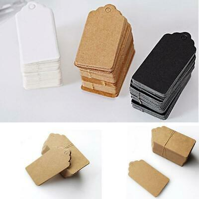 100Pcs Kraft Paper Gift Tags Wedding Scallop Label Blank Luggage Tag 4*2cm 3mm