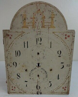 Antique Painted Wooden Clock face Ca. Late 19th Century