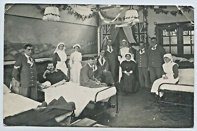 Ww1 Rp Postcard Soldiers Hospital Staff Selby Parsons  Palmers Green England C78