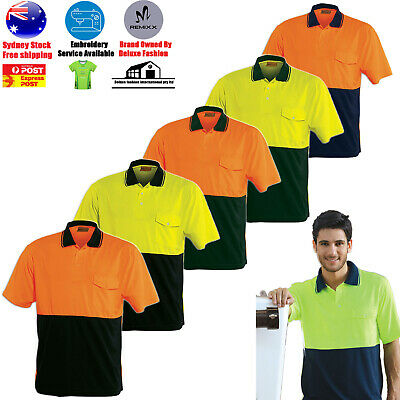 5 Pack Hi-Vis Two Tone Short Sleeve Safety Polo Workwear Safety  Shirt Work Wear