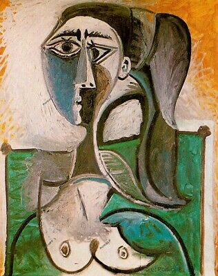 """Pablo Picasso Spanish Artist Oil Painting Bust of a Woman Vintage Canvas 24x30"""""""