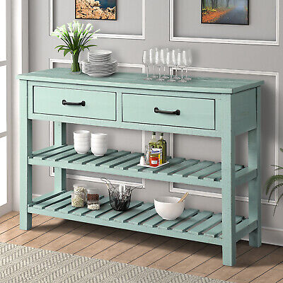 Retro Console Table for Entryway with Drawers Shelf Living Room Furniture