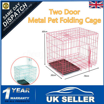 Large Two Door Pet Dog Cat Puppy Training Folding Cage Crate Carrier  Medium