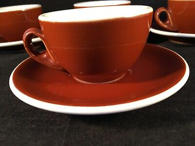ACF ITALY Terracotta Coloured ESPRESSO CUP DUOS x4 Cup & Saucer
