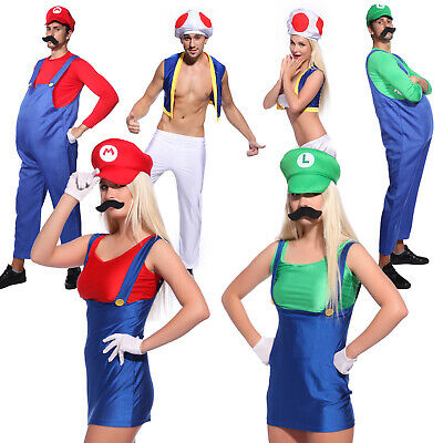 Men Ladies Super Mario Bros Mushroom Toad Plumber Workman 80s Game Fancy Dress