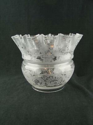 "Beautiful Antique Acid Etched Clear Glass Tulip Shade For Oil Lamp, 4"" Fitter"