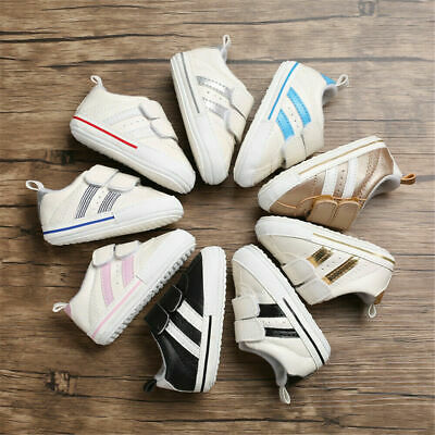 2019 Infants Baby Boy Girl Summer Walking Soft Sole White Pram Shoes Trainers