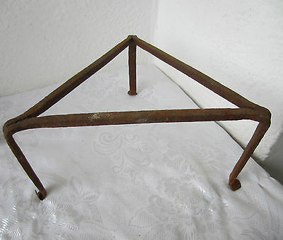 19thC Antique Primitive Hand > Wrought Iron hearth kettle trivet stand triangle