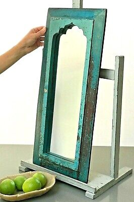 Antique Vintage Indian Mirror. Mughal Arch. Turquoise & Baby Blue. Art Deco