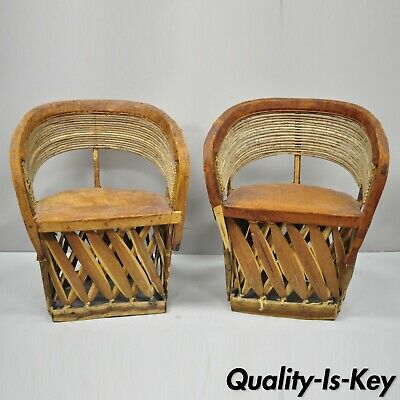 Pair of Vintage Mexican Equipable Brown Leather & Branch Wood Barrel Club Chairs