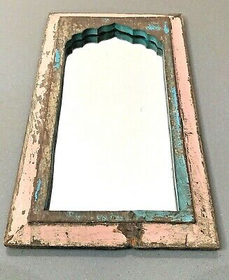 Antique Vintage Indian Mirror. Mughal Arch. Pink & Turquoise. Art Deco.