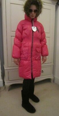 Deux par Deux designer girls pink puffa warm anorak jacket winter coat 11 12 NWT