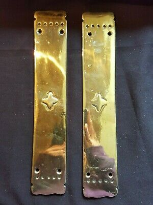 Antique Reclaimed Original Pair of Edwardian Brass Finger Plates (EH111)