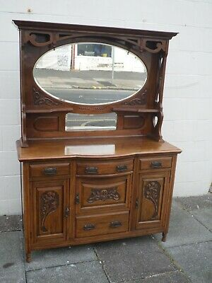Victorian Art Nouveau Mahogany Mirror Backed Sideboard with Carved Decoration