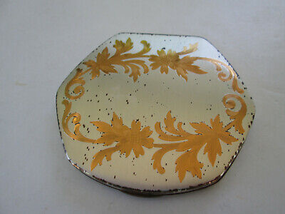 Vintage Elgin American Powder Compact Silver & Gold Etched Floral Hexagonal 3911