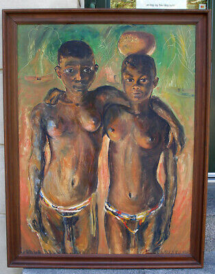 Ulla Weinert (1897) Huge portrait of two women. Belgian Congo. Dated 1943. Rare!