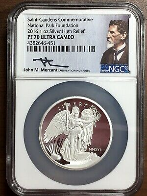2016 1 Oz Saint Gaudens Silver ✪ Ngc Pf-70 ✪ National Park Foundation Mercanti