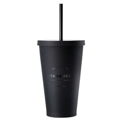 Starbucks Korea Matt Black Flat Cold Cup Tumbler Coffee Collectible 473ml NEW