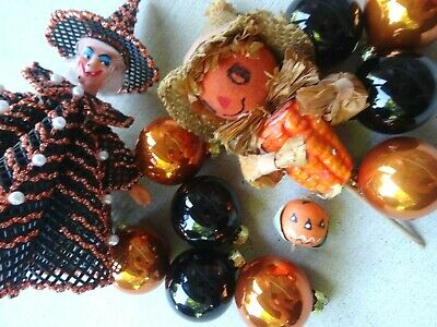 Vintage Halloween Decor Pumpkin Spun Head/Witch/Glass Orange and Black Ornaments