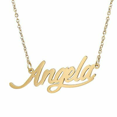 "Personalized Sterling Silver Gold Any Name Plate Script Chain Necklace ""Angela"""