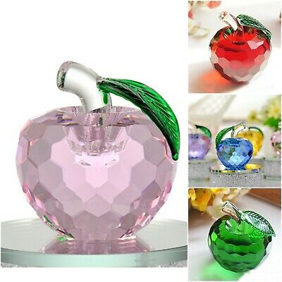3D Cut Crystal Glass Apple Ornament Paperweight Home Wedding Decor Bday Gift UK