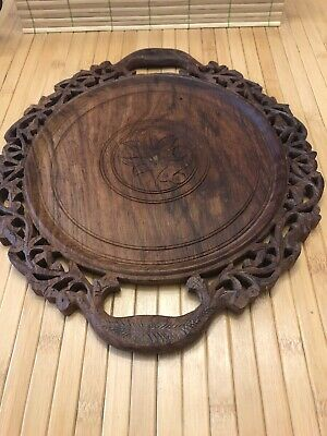 Vintage Wooden Round Ornate Decorative Plate / Alter Plate Incense Candle Trivet