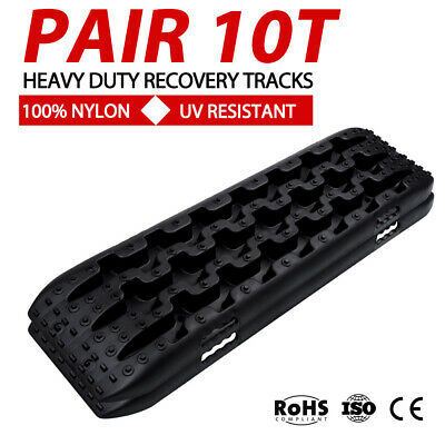 Black 10T Recovery Tracks Off Road 4x4 4WD Car Snow Mud Sand Trax 10 Ton Pair T4