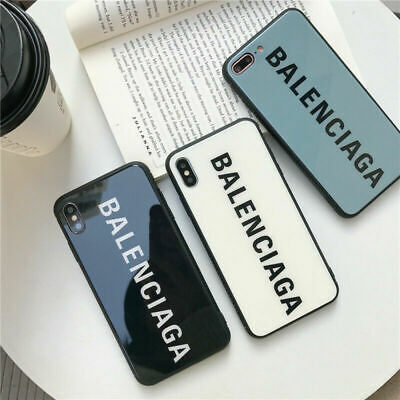 Luxury Fashion Balenciaga Tempered Glass Case For Apple iPhone XS XR X 8 7 Plus