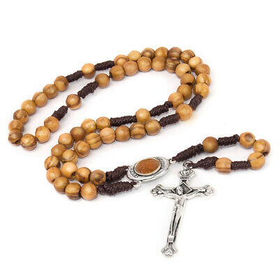 """Olive wood Handmade Rosary beads Prayer Knot with Holy Soil from Jerusalem 12.5"""""""