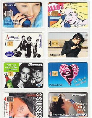 8 Phone Card Set / Telecarte .. France Pack 4 Fille Sexy Girl  Topic Used/Chip