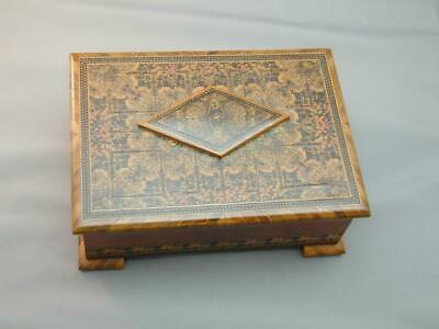 Antique Wooden Marquetry Box With Tufted Fabric Inside & Secret Lock