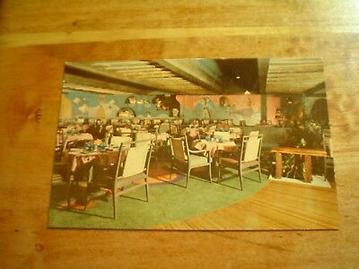 "POSTCARD VINTAGE ""TIANGUIS"" THE ACAPULCO HILTON HOTEL DINING ROOM 1950's-1960's"