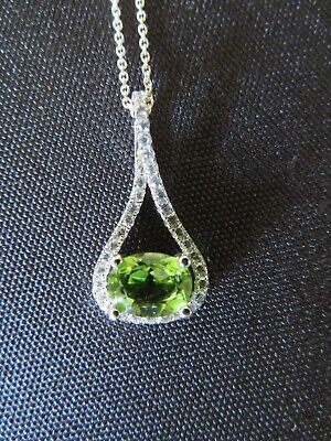 1.63 Ct Oval Green Peridot 925 Sterling Silver Pendant
