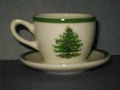 Spode Christmas Tree Mini Teacup Ornament Doll Dishes Used  5V3