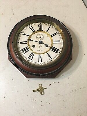 Antique Ansonia Lever Action Octagon Wall Clock Locomotive Or Maritime Timepiece